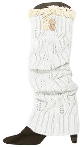 Other White Sweater Knitted Lace Top Button Down Leg Warmer Boot Socks Boot Topper