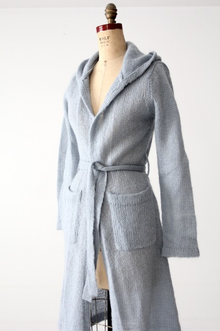 Anthropologie Hooded Belted Mohair Robe Cardigan
