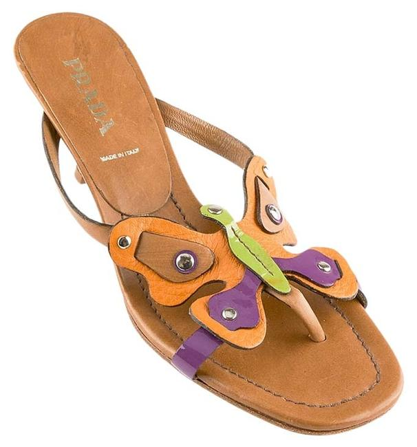 Item - Brown & Multi Color Butterfly Leather 36.5 (63750) Sandals Size US 6.5