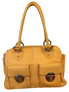 Marc Jacobs Leather Buckles Satchel in Yellow with Aqua Interior
