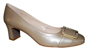Tahari Buckle Block Heel Tan Pearl Pumps