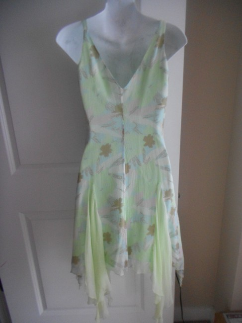Laundry by Shelli Segal short dress MINT GREEN MULTI FLORAL Size 2 Silk High Low on Tradesy