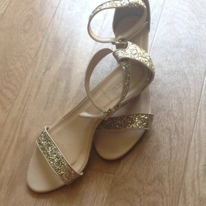 J.Crew Gold Glitter/Tan Leather Size US 8.5 Regular (M, B)