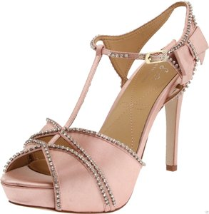 Pour La Victoire T-strap Diamond Diamonds Bling Bow Satin Platform Peep Toe Pin Up Glam Classic Wedding Prom T Strap Blush, Nude, Pink Formal