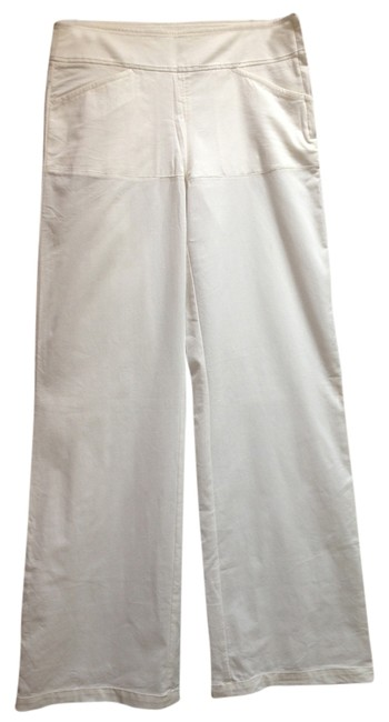 Max Studio Summer Side Zip Flattering Relaxed Pants White