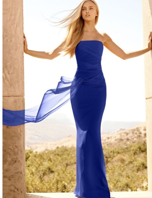 Item - Blue Polyester Crinkle Chiffon Column Gown / Vw360105 Formal Bridesmaid/Mob Dress Size 6 (S)