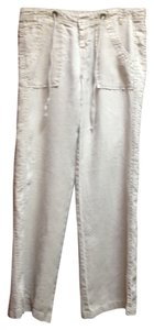 Joie Linen Beachy Relaxed Summer Drawstring Wide Leg Pants Tan Linen