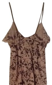 Express Top Green And Tan Print
