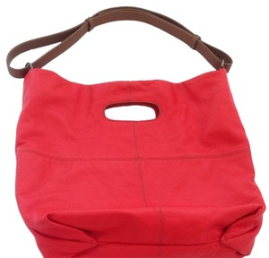 Barrie Pace New Flame Adjustable Shoulder Strap Barr+barr Leather Summer Vacation Tote in Red/brown