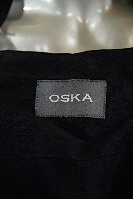 Oska Linen Crinkled Asymmetrical Black Jacket