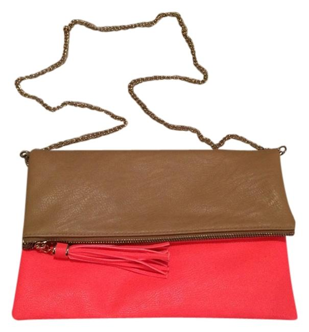 Item - Spring Summer Tan / Neon Coral Faux Leather Clutch