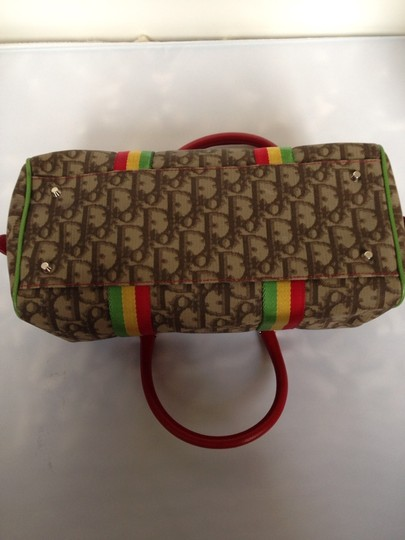 Dior Tote in Brown With Red, Yellow & Green