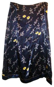 Oilily Floral Satin Beaded A-line Sequin Skirt Navy Blue