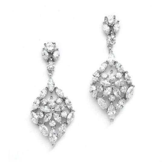 Silver/Rhodium Vintage Style Crystal Earrings