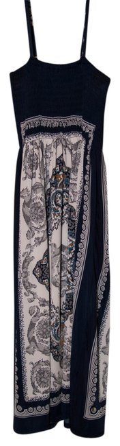 Item - Navy Blue Silver White Bohemian Style Summer Mid-length Casual Maxi Dress Size OS (one size)