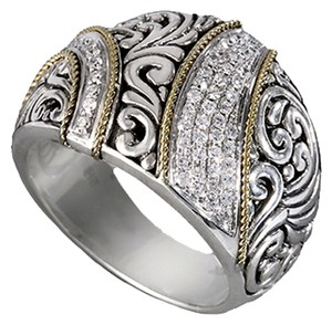 EFFY Effy Balissima Sterling Silver & 18 Karat Gold Ring with 0.29ct.t.w. Diamonds. Size 5.5