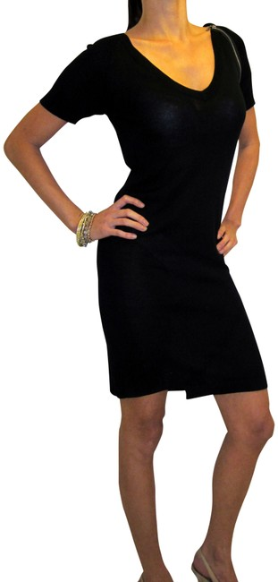 Item - Black Zipper Embellished Little Above Knee Cocktail Dress Size 10 (M)