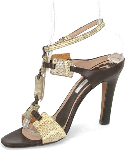 Pollini Snakeskin Python Strappy Festival Cut-out Mule Brown, Beige Sandals
