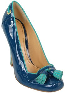 Pollini Patent Tassels Chunky Blue, Turquoise Pumps