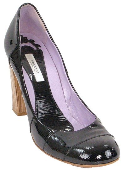 Pollini Patent Leather Cut-out Round Toe Square Toe Black Pumps