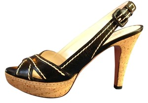 Prada Sexy Sophisticated Cork Platform Strappy Black Sandals