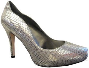 White House | Black Market Snakeskin Platform New Metallic Silver Pumps