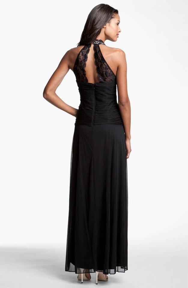 Betsy Adam Black Lacemesh Halter Style Gown New Wo Tags Long