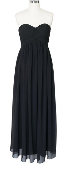 Black Chiffon Strapless Sweetheart Long Formal Bridesmaid/Mob Dress Size 4 (S)