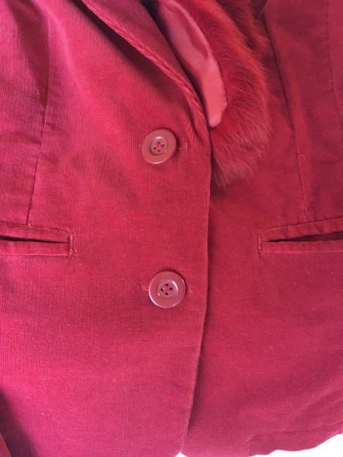 Wilsons Leather Convertible Fur Corduroy Faux Red Blazer