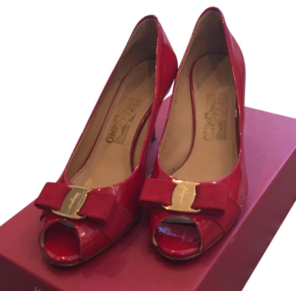 salvatore ferragamo peep toe heels red pumps on sale 34 off pumps on sale. Black Bedroom Furniture Sets. Home Design Ideas