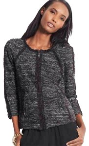 Ann Taylor Twee Tweed Gray/black Blazer