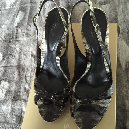 Sergio Rossi Black/white patent leather Wedges