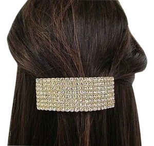 Other Women Large Gold Metal Ponytail Holder Hair Clip Silver Rhinestones Fashion Jewelry