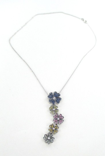 Other 14K SOLID WHITE GOLD SAPPHIRE STONES FLOWER PENDANT + NECKLACE FINE JEWELRY SET