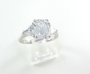 18kt Solid White Gold Solitaire Wedding Band Ring Sz 7 Engagement 3 Diamond