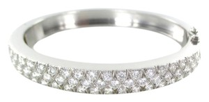 18KT SOLID WHITE GOLD BRACELET 64 DIAMONDS 4.0 CARAT CUFF BANGLE 42.1 GRAMS