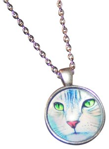 Glass Cabochon Cat Face Pendant Necklace Free Shipping