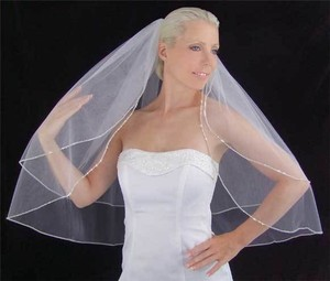 Ivory-off White Medium Crystal & Beaded Edge Ivory Bridal Veil