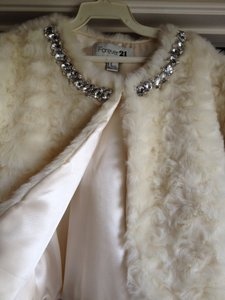 Forever 21 Off White Faux Fur Coat