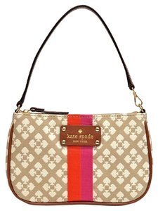 Kate Spade Classic Top Handle Wristlet in Brown Beige White Pink Orange