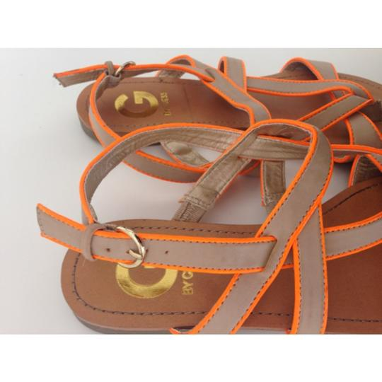 Guess Leather Leather Beige Neon Orange Sandals