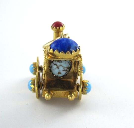 Other 18KT KARAT SOLID YELLOW GOLD PENDANT TRAIN CABOCHON ENGINE PRECIOUS STONE ESTATE