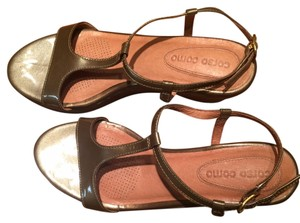 Ballasox by Corso Como Tan Taupe Patent Leather and Suede Sandals