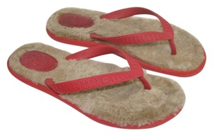 UGG Australia Shearling Fluffie Thongs Red Sandals