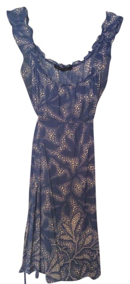 5ba14053150 Elie Tahari Blue with White Dots Knee Length Short Casual Dress Size ...