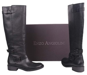 Enzo Angiolini Pebbled Textured Motorcycle Black Boots