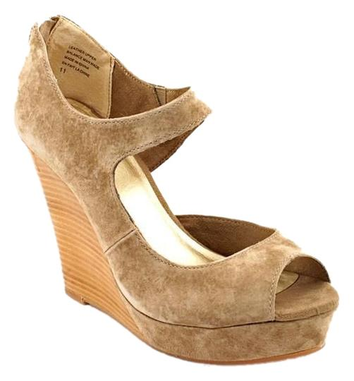 Seychelles Suede Peep Toe Taupe Wedges