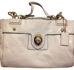 Coach Ivory Patent Leather Embossed Satchel in Cream/Ivory