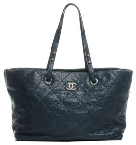 Chanel Gst Grand Road Tote in Teal Blue