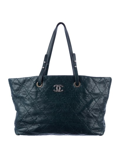 Chanel Gst Grand On The Road Tote in Teal Blue
